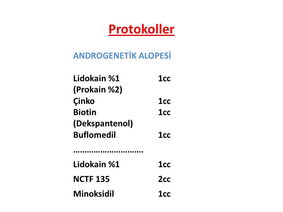 Protokoller ANDROGENETİK ALOPESİ Lidokain %1 1cc (Prokain %2)