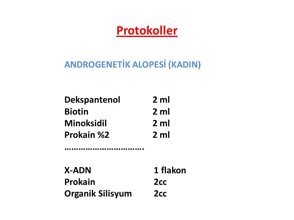 Protokoller ANDROGENETİK ALOPESİ (KADIN) Dekspantenol 2 ml Biotin 2 ml