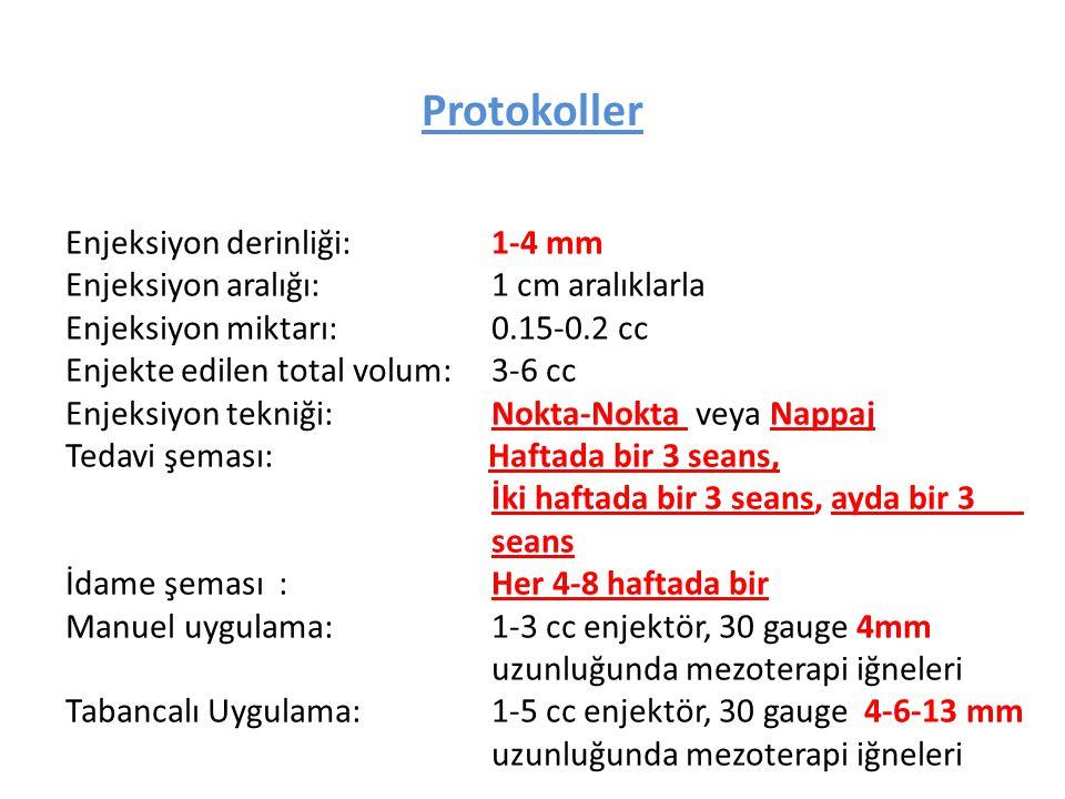 Protokoller Enjeksiyon derinliği: 1-4 mm