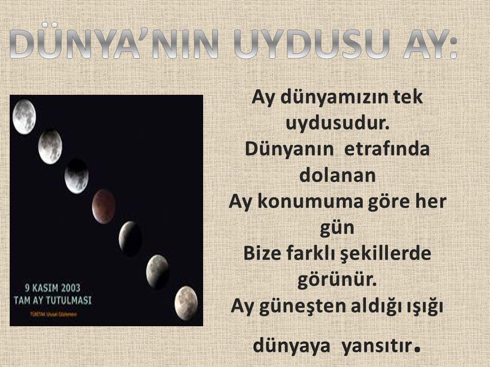 DÜNYA'NIN UYDUSU AY: Ay dünyamızın tek uydusudur.