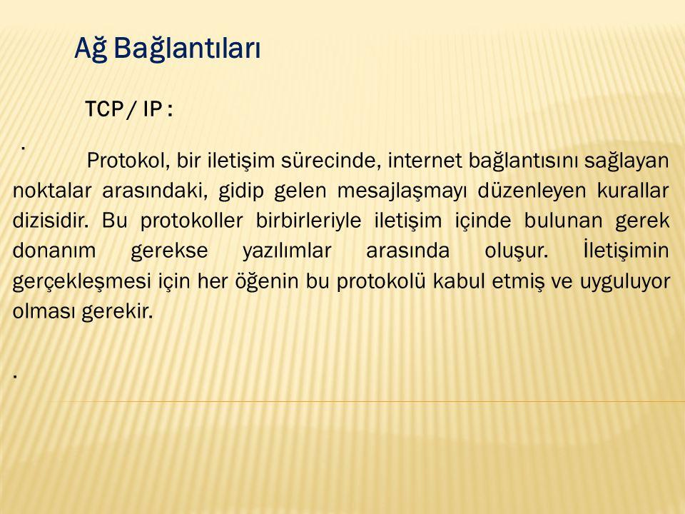 Ağ Bağlantıları TCP / IP : .