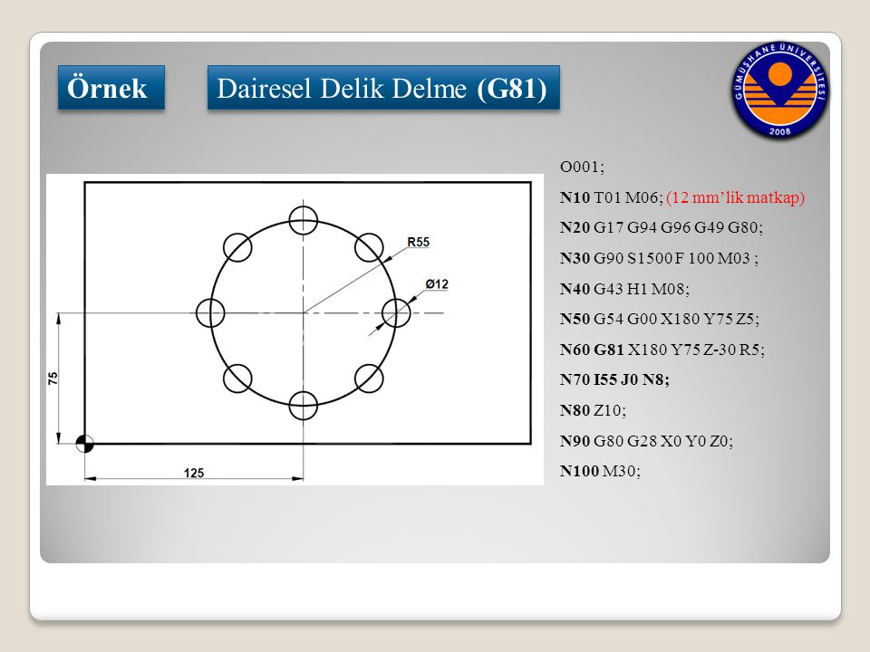 Dairesel Delik Delme (G81)