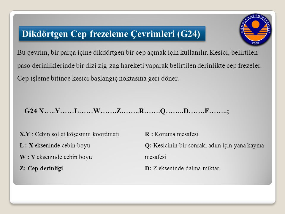 Dikdörtgen Cep frezeleme Çevrimleri (G24)