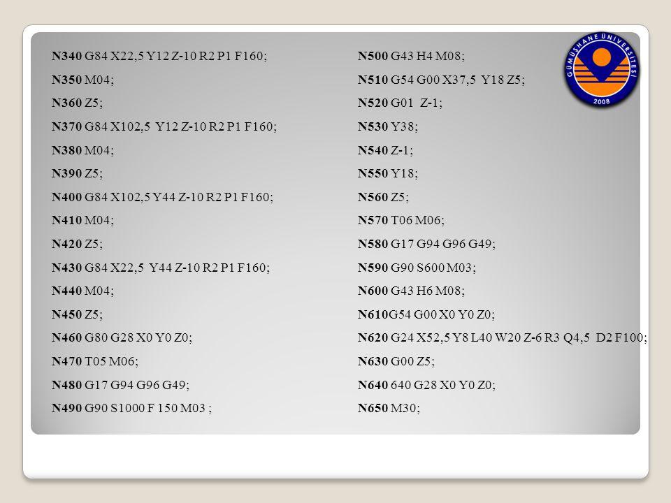 N340 G84 X22,5 Y12 Z-10 R2 P1 F160; N500 G43 H4 M08; N350 M04; N510 G54 G00 X37,5 Y18 Z5; N360 Z5;