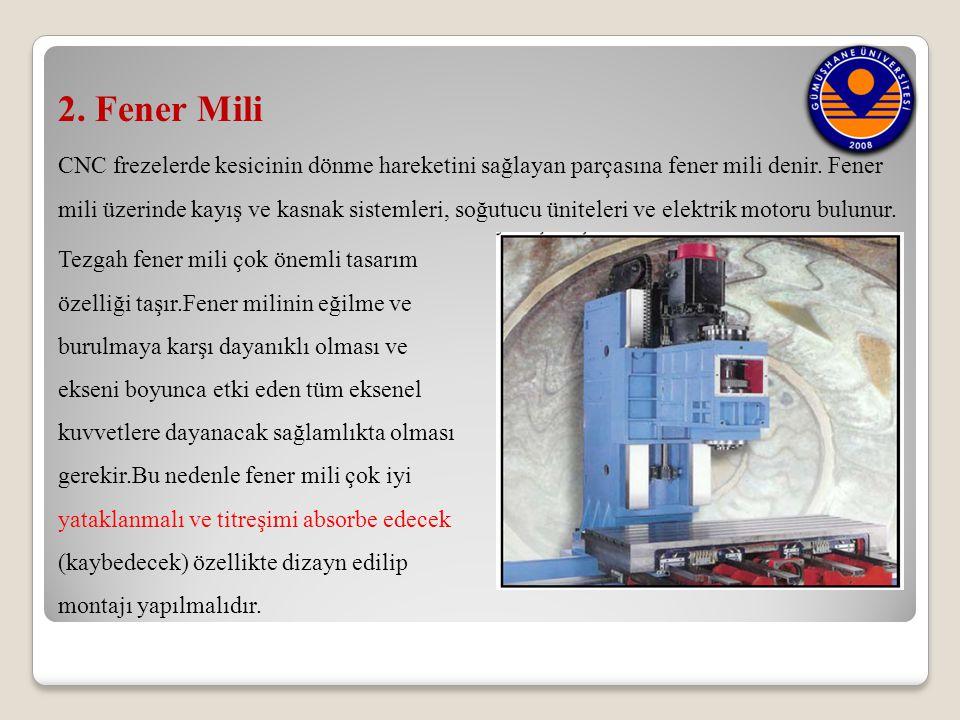 2. Fener Mili CNC frezelerde kesicinin dönme hareketini sağlayan parçasına fener mili denir. Fener.