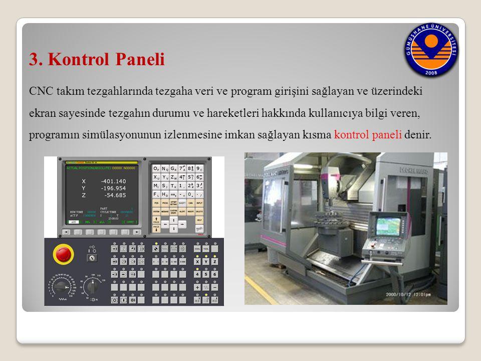 3. Kontrol Paneli CNC takım tezgahlarında tezgaha veri ve program girişini sağlayan ve üzerindeki.