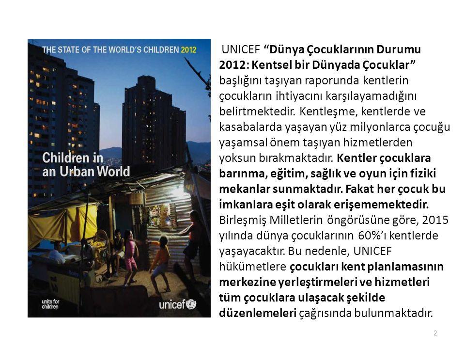 UNICEF Dünya Çocuklarının Durumu 2012: Kentsel bir Dünyada Çocuklar başlığını taşıyan raporunda kentlerin çocukların ihtiyacını karşılayamadığını belirtmektedir.
