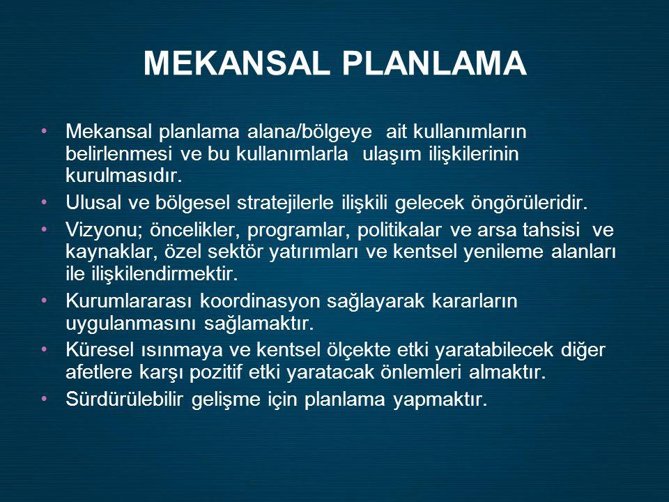 MEKANSAL PLANLAMA Mekansal planlama alana/bölgeye ait kullanımların belirlenmesi ve bu kullanımlarla ulaşım ilişkilerinin kurulmasıdır.