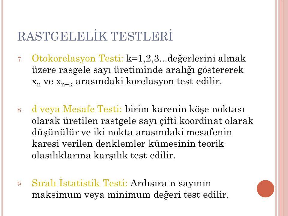 RASTGELELİK TESTLERİ