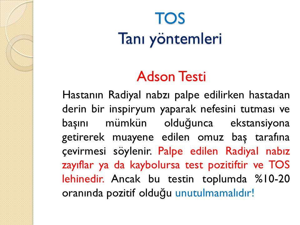TOS Tanı yöntemleri Adson Testi
