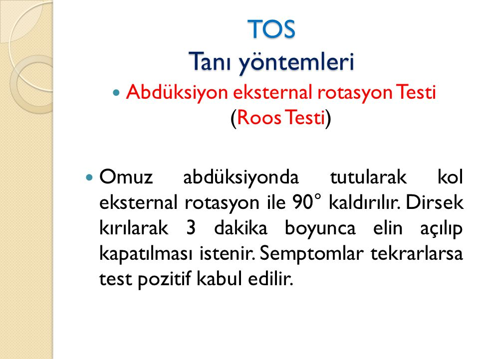 Abdüksiyon eksternal rotasyon Testi (Roos Testi)