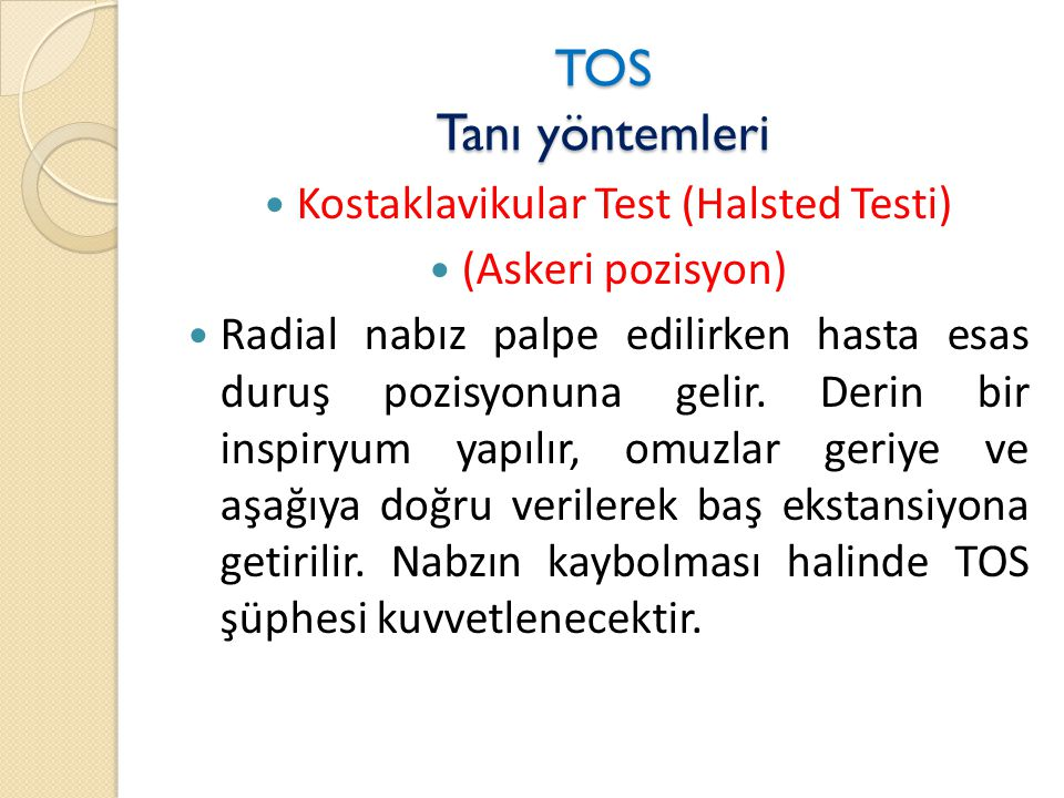Kostaklavikular Test (Halsted Testi)