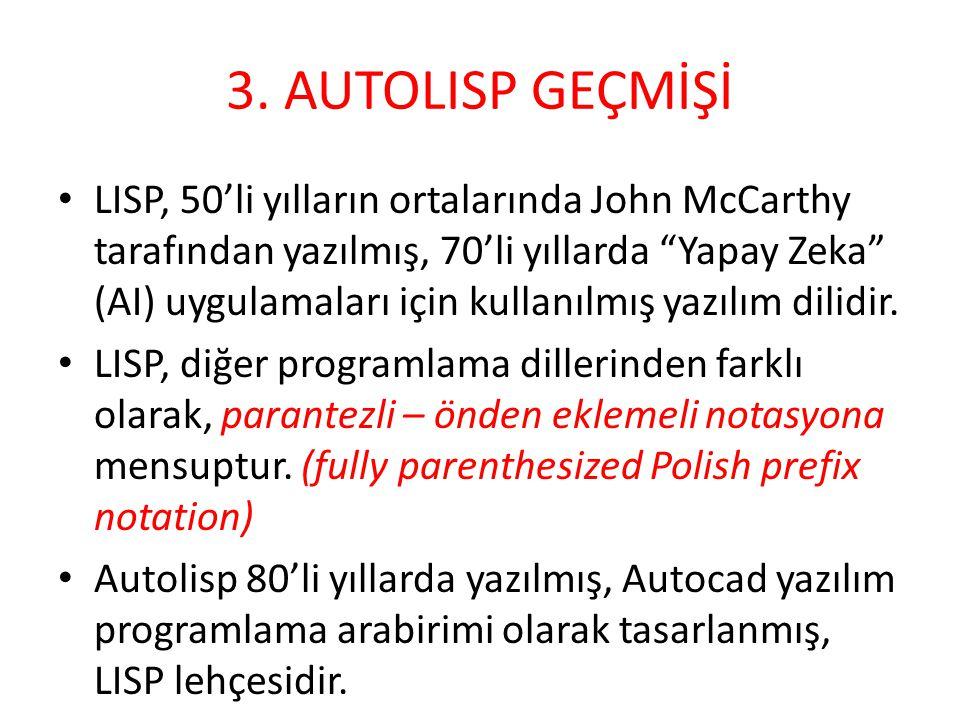3. AUTOLISP GEÇMİŞİ