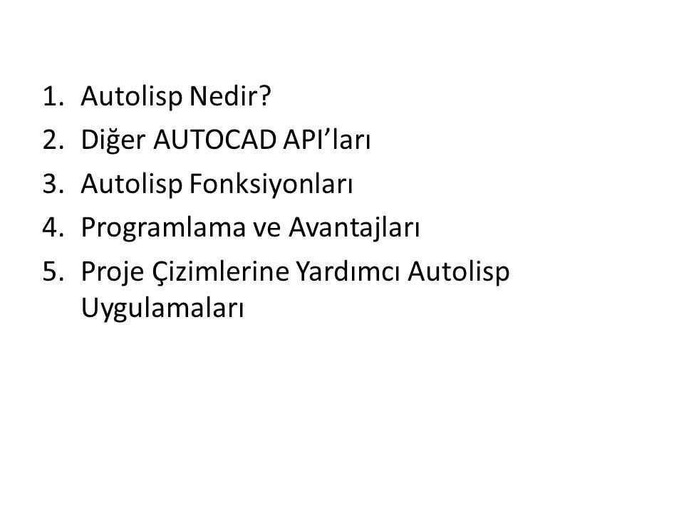 Autolisp Nedir. Diğer AUTOCAD API'ları. Autolisp Fonksiyonları.