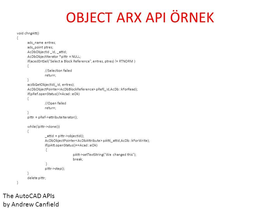 OBJECT ARX API ÖRNEK The AutoCAD APIs by Andrew Canfield