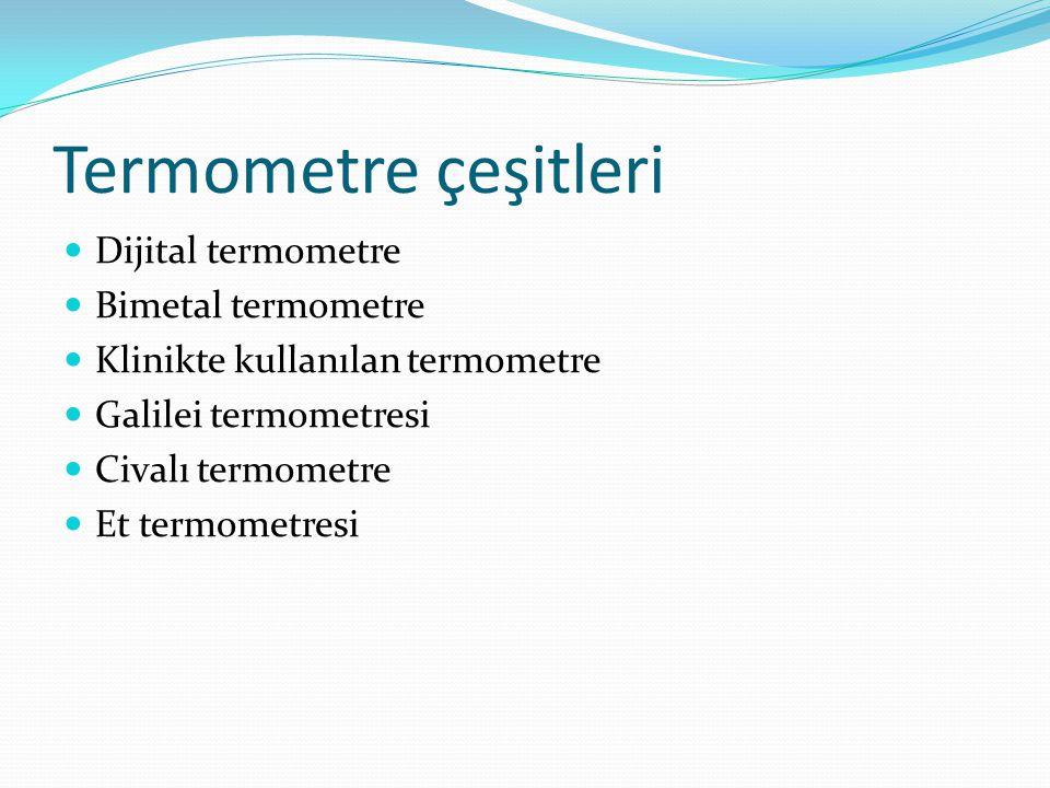 Termometre çeşitleri Dijital termometre Bimetal termometre