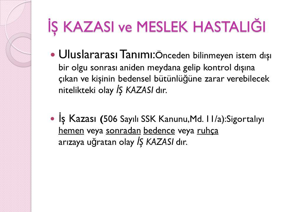 İŞ KAZASI ve MESLEK HASTALIĞI