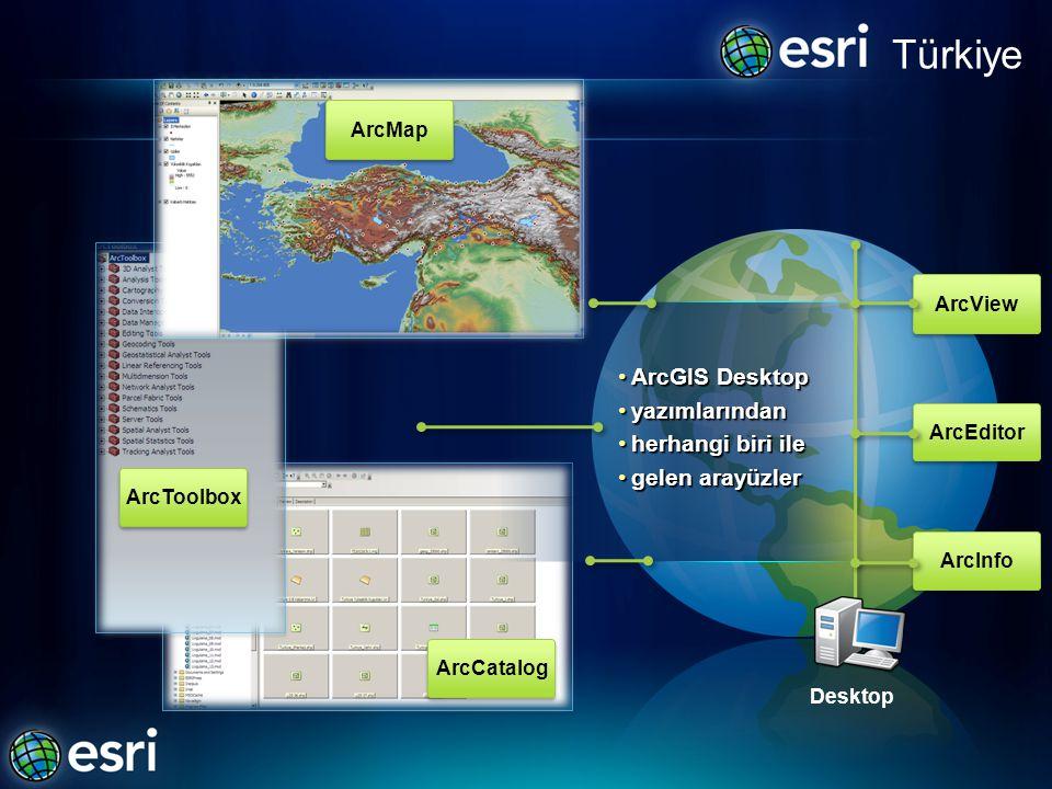 Türkiye ArcGIS Desktop yazımlarından herhangi biri ile gelen arayüzler