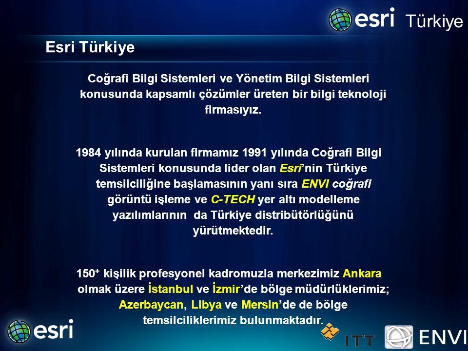 Türkiye Esri Türkiye. Coğrafi Bilgi Sistemleri ve Yönetim Bilgi Sistemleri konusunda kapsamlı çözümler üreten bir bilgi teknoloji firmasıyız.