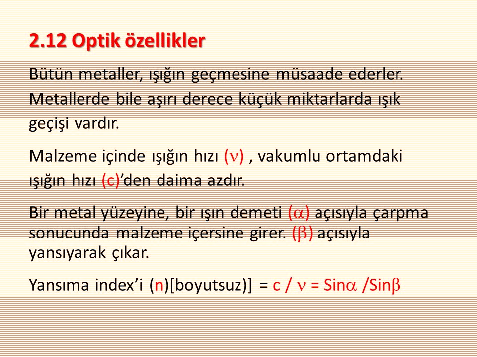 2.12 Optik özellikler