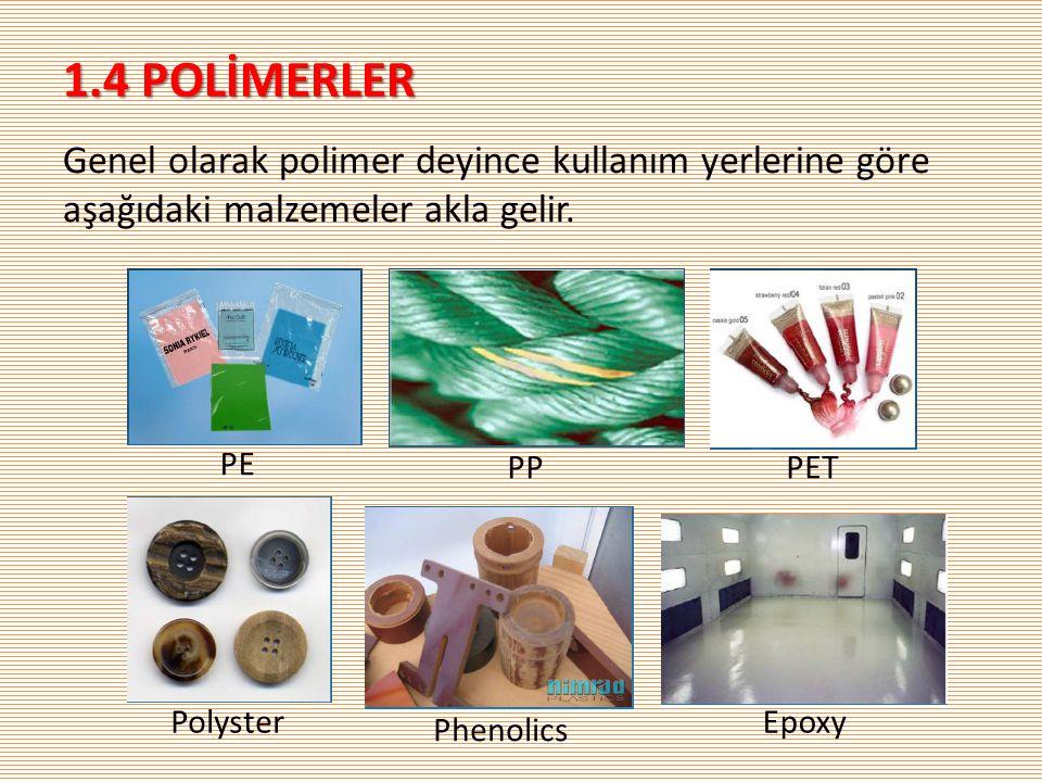 1.4 POLİMERLER Genel olarak polimer deyince kullanım yerlerine göre aşağıdaki malzemeler akla gelir.