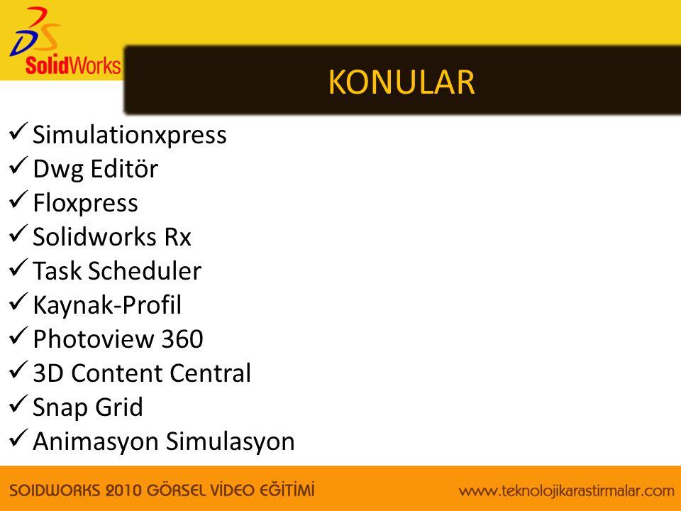 KONULAR Simulationxpress Dwg Editör Floxpress Solidworks Rx