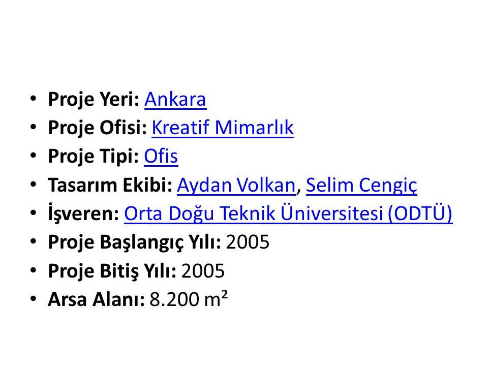 Proje Yeri: Ankara Proje Ofisi: Kreatif Mimarlık. Proje Tipi: Ofis. Tasarım Ekibi: Aydan Volkan, Selim Cengiç.