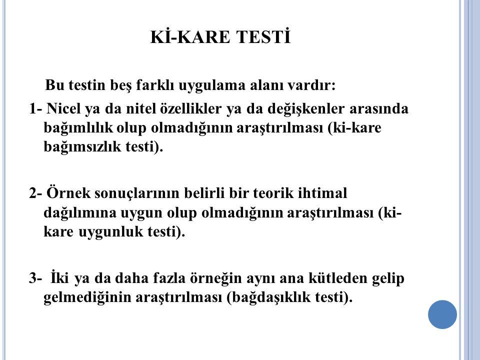 Kİ-KARE TESTİ Bu testin beş farklı uygulama alanı vardır: