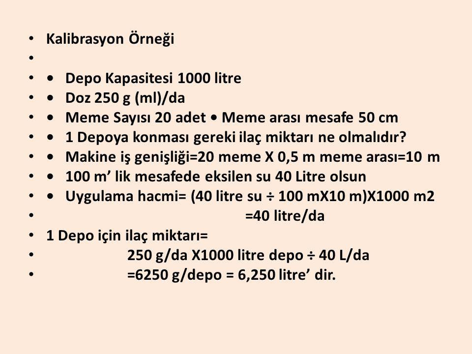 Kalibrasyon Örneği • Depo Kapasitesi 1000 litre. • Doz 250 g (ml)/da. • Meme Sayısı 20 adet • Meme arası mesafe 50 cm.