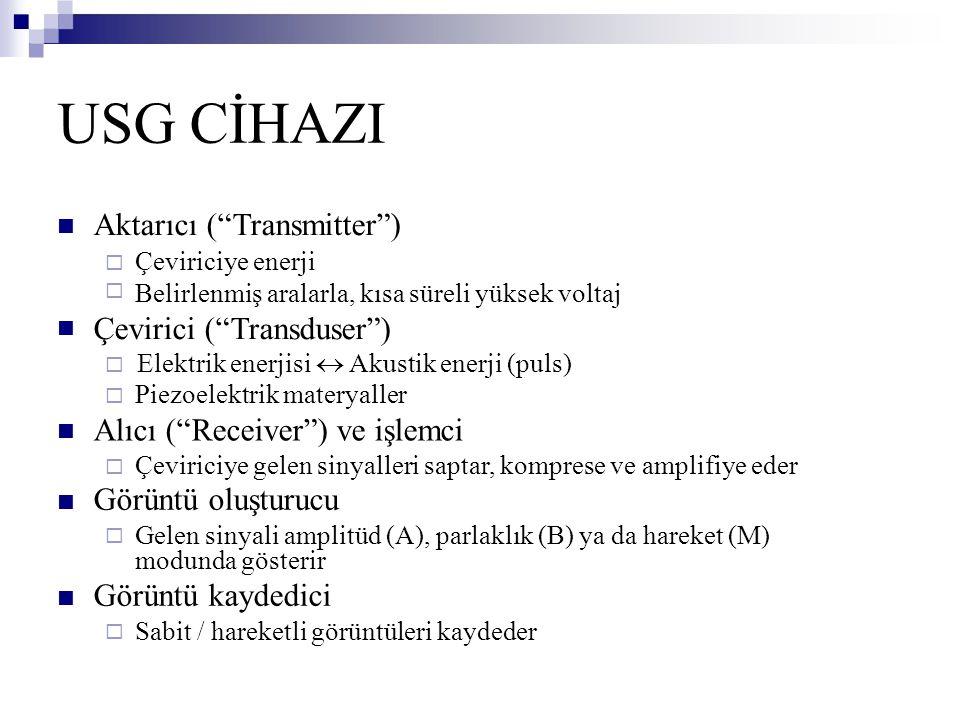 USG CİHAZI Aktarıcı ( Transmitter ) Çevirici ( Transduser )