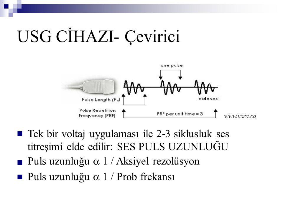 USG CİHAZI- Çevirici Tek bir voltaj uygulaması ile 2-3 siklusluk ses