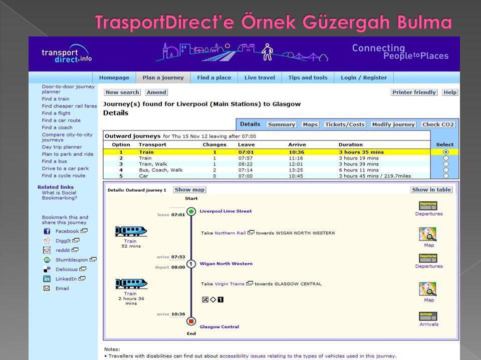 TrasportDirect'e Örnek Güzergah Bulma