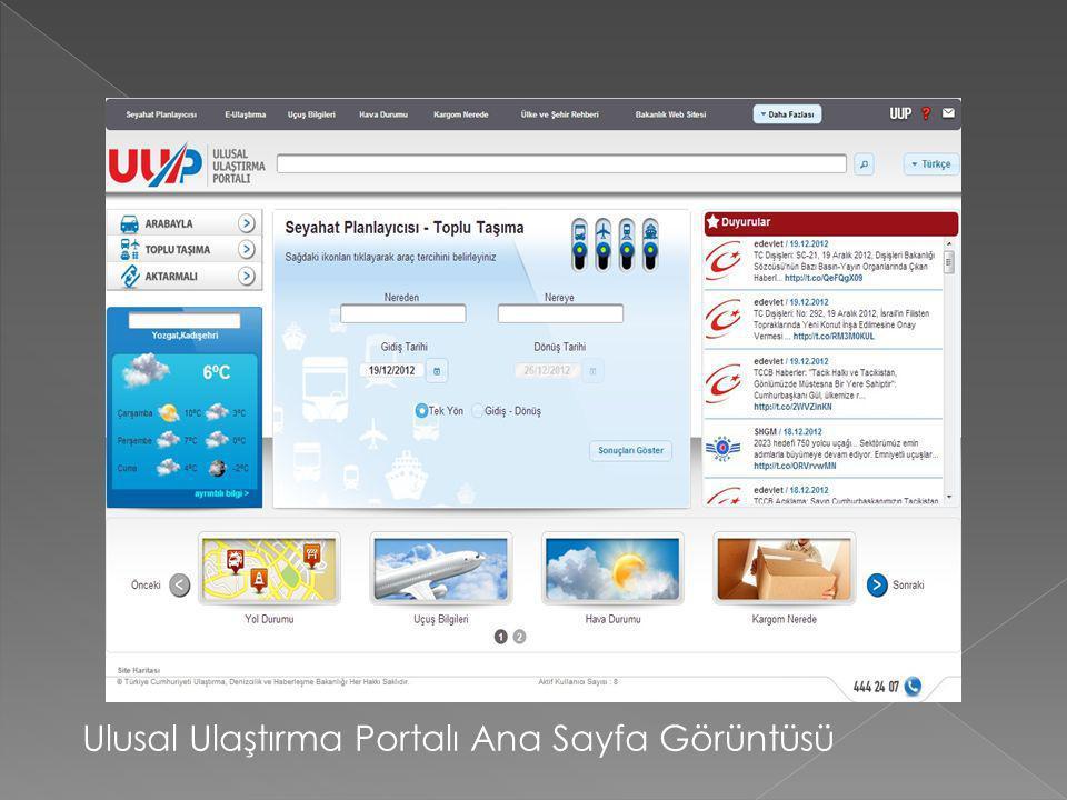 Ulusal Ulaştırma Portalı Ana Sayfa Görüntüsü