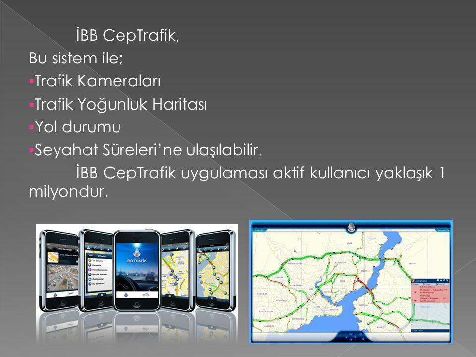 İBB CepTrafik, Bu sistem ile; Trafik Kameraları. Trafik Yoğunluk Haritası. Yol durumu. Seyahat Süreleri'ne ulaşılabilir.