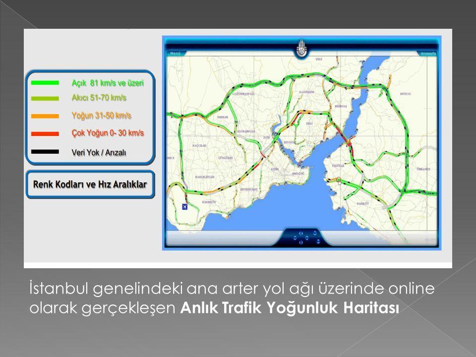 İstanbul genelindeki ana arter yol ağı üzerinde online olarak gerçekleşen Anlık Trafik Yoğunluk Haritası