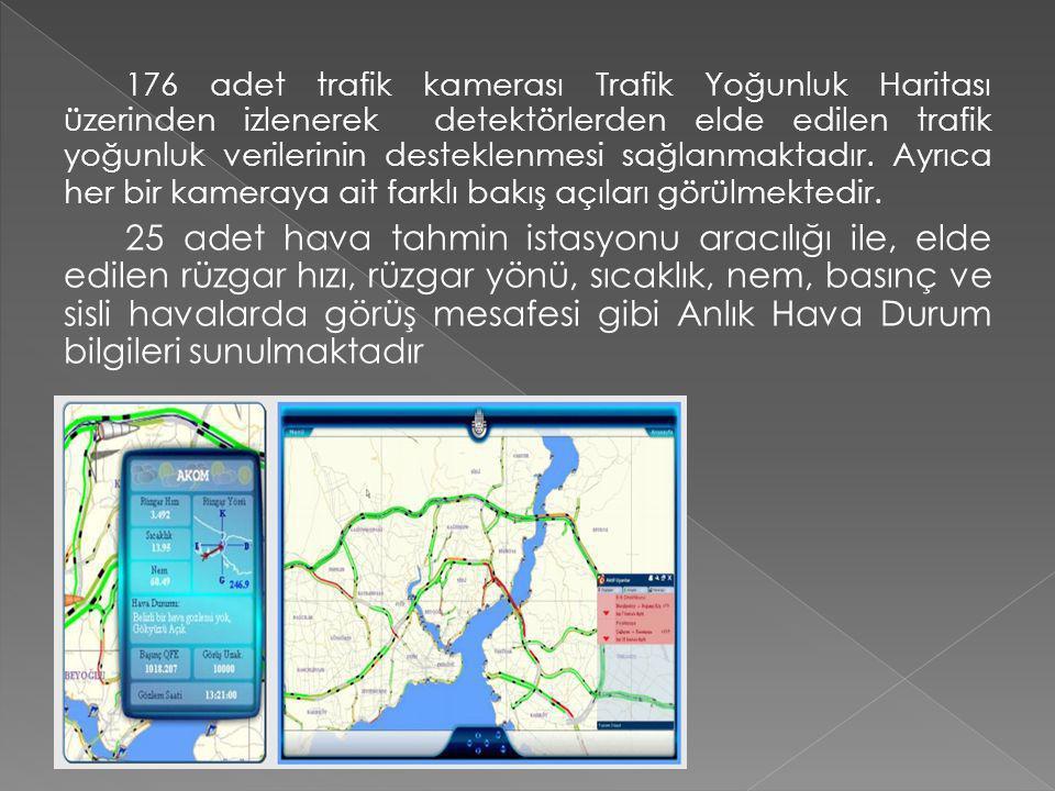 176 adet trafik kamerası Trafik Yoğunluk Haritası üzerinden izlenerek detektörlerden elde edilen trafik yoğunluk verilerinin desteklenmesi sağlanmaktadır. Ayrıca her bir kameraya ait farklı bakış açıları görülmektedir.