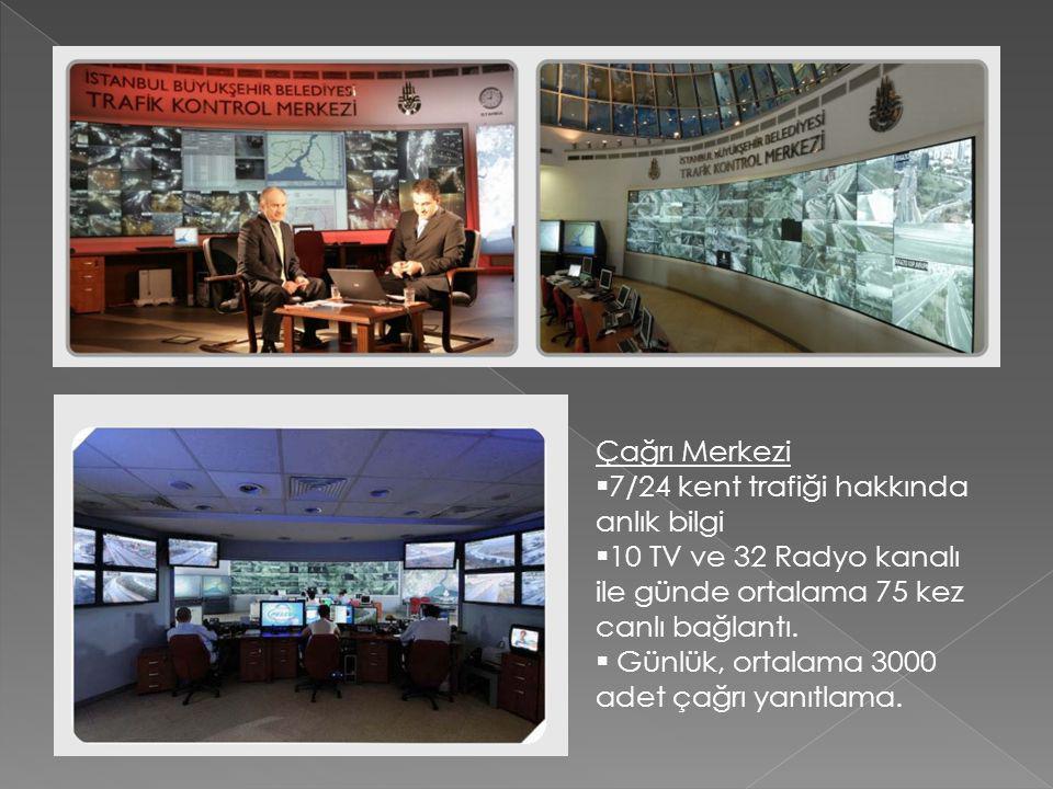 Çağrı Merkezi 7/24 kent trafiği hakkında anlık bilgi. 10 TV ve 32 Radyo kanalı ile günde ortalama 75 kez canlı bağlantı.