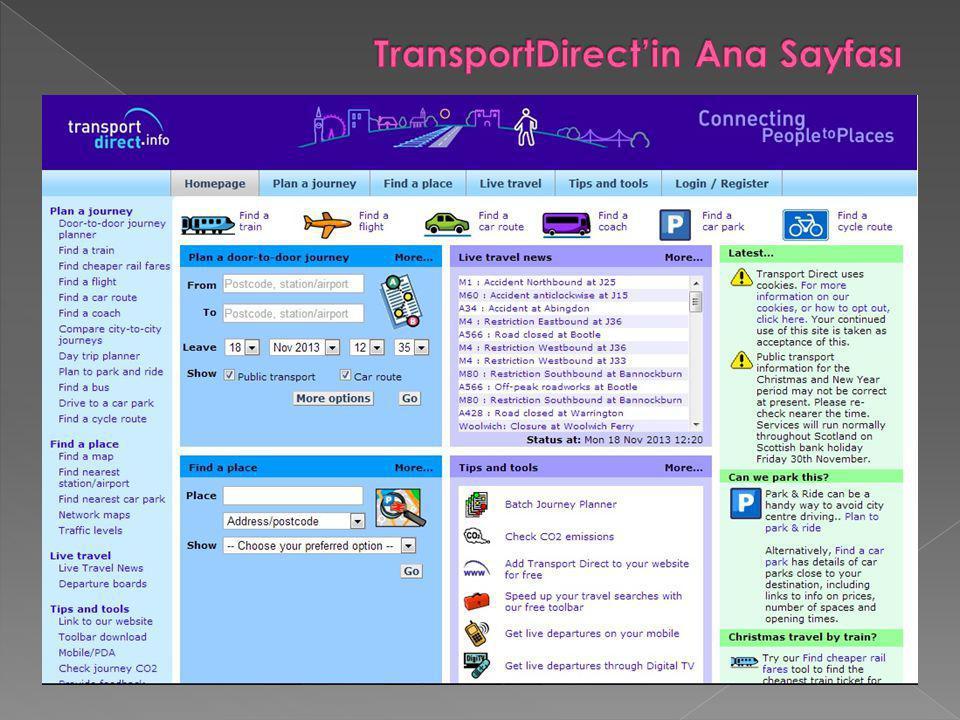 TransportDirect'in Ana Sayfası