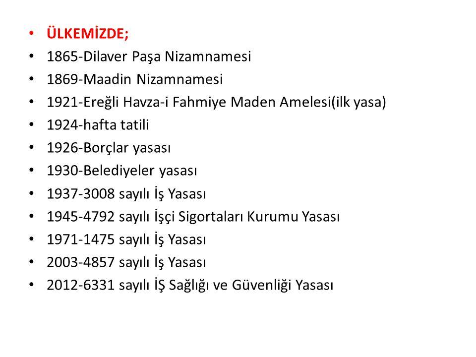 ÜLKEMİZDE; 1865-Dilaver Paşa Nizamnamesi. 1869-Maadin Nizamnamesi. 1921-Ereğli Havza-i Fahmiye Maden Amelesi(ilk yasa)