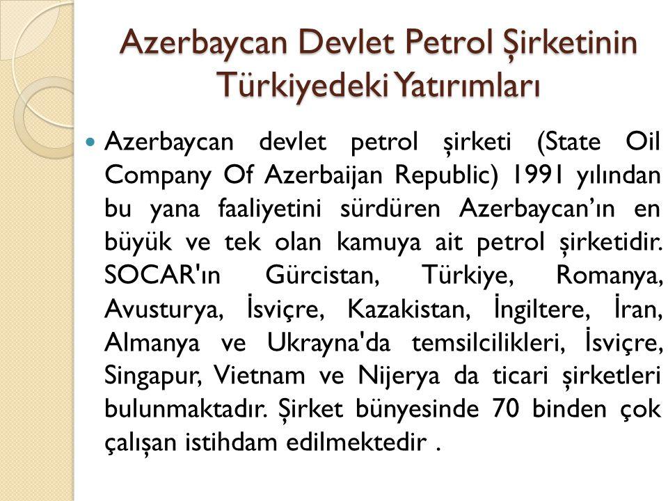 Azerbaycan Devlet Petrol Şirketinin Türkiyedeki Yatırımları