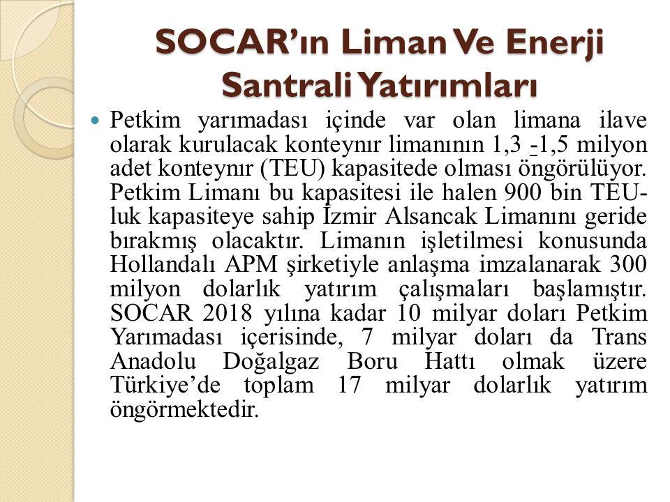 SOCAR'ın Liman Ve Enerji Santrali Yatırımları
