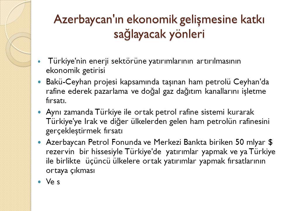 Azerbaycan ın ekonomik gelişmesine katkı sağlayacak yönleri