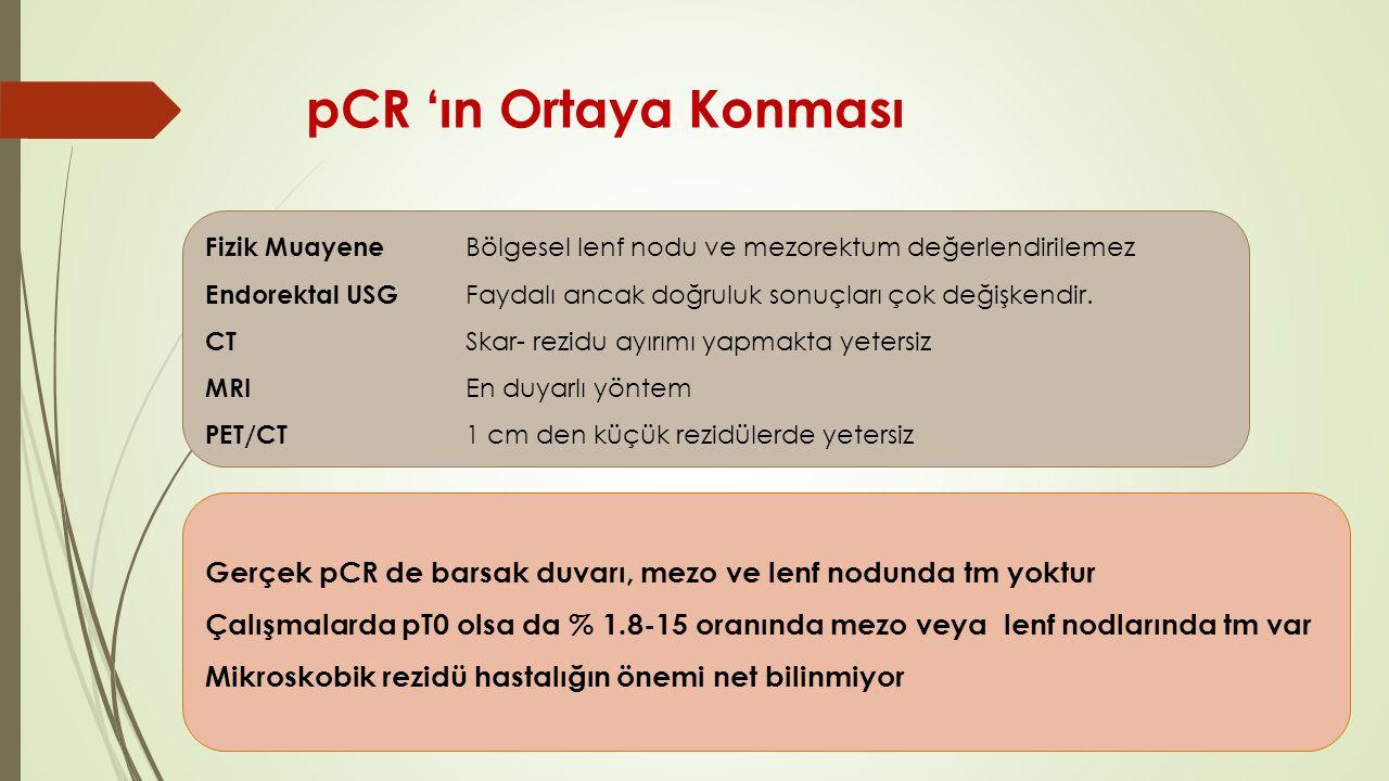 pCR 'ın Ortaya Konması Fizik Muayene Bölgesel lenf nodu ve mezorektum değerlendirilemez.