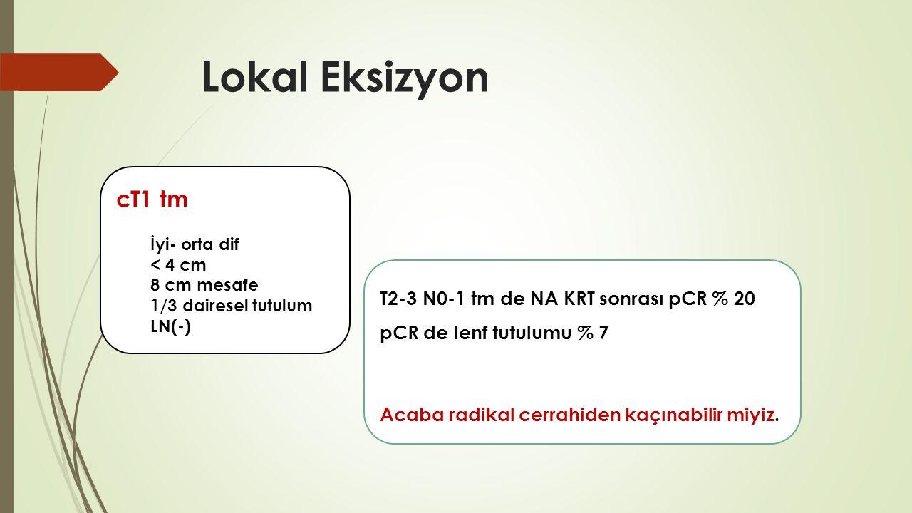 Lokal Eksizyon cT1 tm T2-3 N0-1 tm de NA KRT sonrası pCR % 20