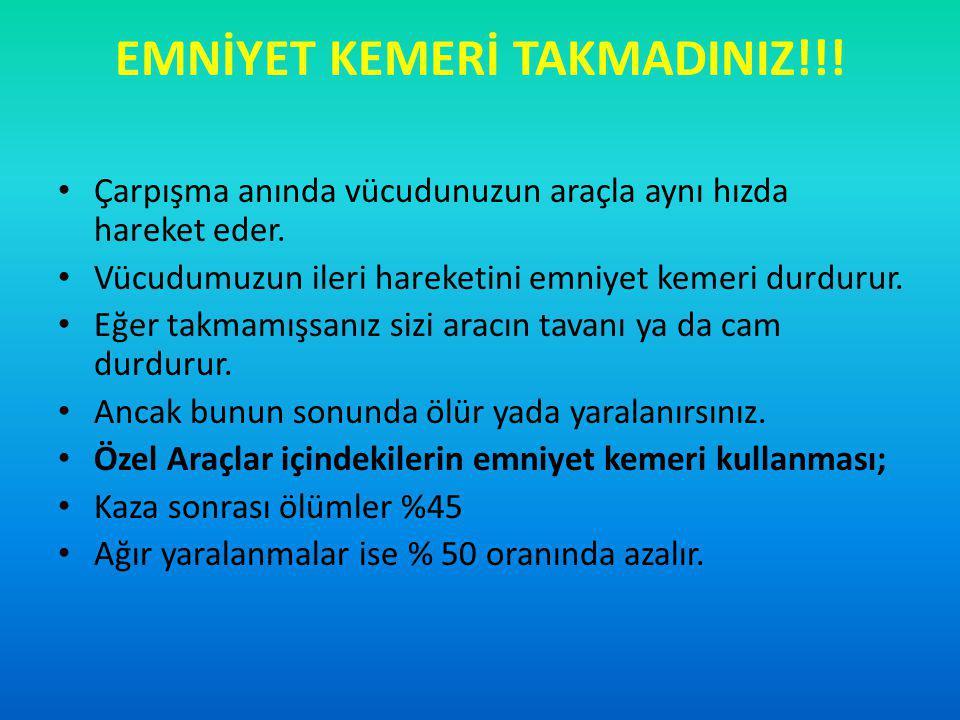 EMNİYET KEMERİ TAKMADINIZ!!!