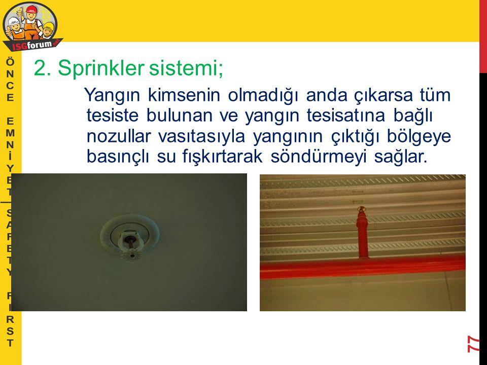 2. Sprinkler sistemi;