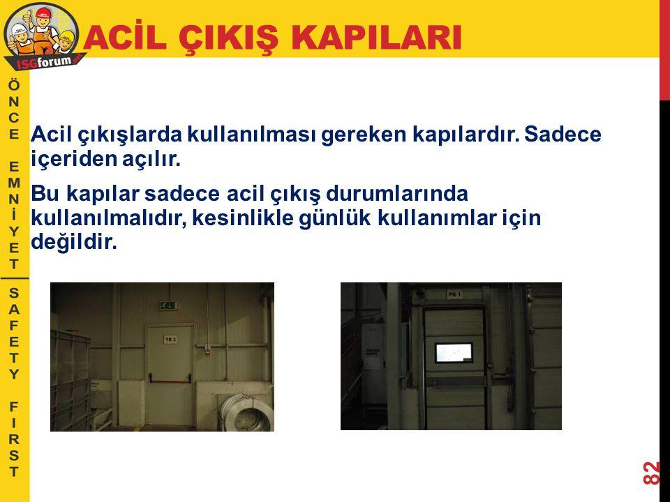 ACİL ÇIKIŞ KAPILARI Acil çıkışlarda kullanılması gereken kapılardır. Sadece içeriden açılır.