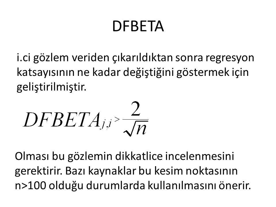 DFBETA i.ci gözlem veriden çıkarıldıktan sonra regresyon katsayısının ne kadar değiştiğini göstermek için geliştirilmiştir.