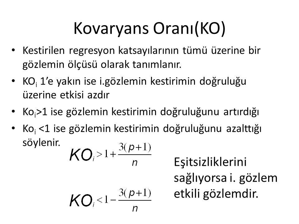 Kovaryans Oranı(KO) Kestirilen regresyon katsayılarının tümü üzerine bir gözlemin ölçüsü olarak tanımlanır.