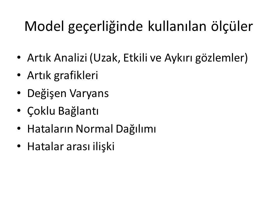 Model geçerliğinde kullanılan ölçüler